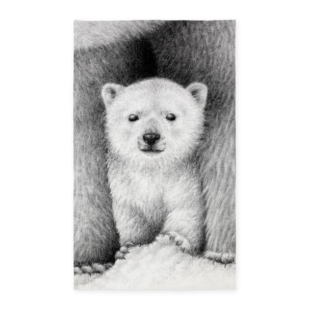 Polar Bear Cub Area Rug By Lornart
