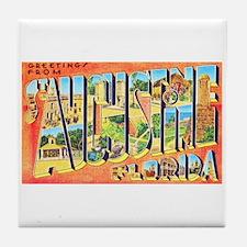 St Augustine Florida Greetings Tile Coaster