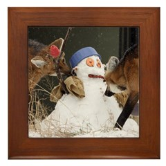 Foxes With Snowman Framed Tile