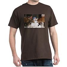 Foxes With Snowman Dark T-Shirt