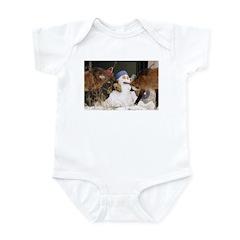 Foxes With Snowman Infant Bodysuit