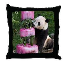 Panda With Cake Throw Pillow