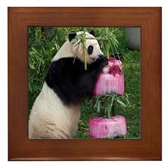 Panda Standing With Cake Framed Tile