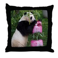Panda Standing With Cake Throw Pillow