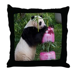 Panda Standing With Cake Throw Pillow
