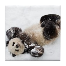 Panda Rolling In Snow Tile Coaster