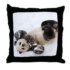 Panda Rolling In Snow Throw Pillow