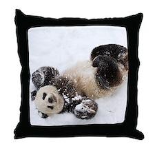 Panda Rolling In Snow Throw Pillow
