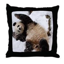 Panda Playing in Snow Throw Pillow
