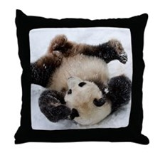 Panda in Snow Throw Pillow