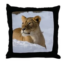 Female Lion in Snow Throw Pillow