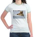 Female Lion in Snow Jr. Ringer T-Shirt