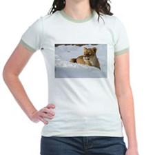 Female Lion in Snow Jr. Ringer T-Shirt