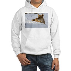 Female Lion in Snow Hoodie