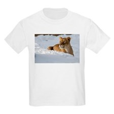 Female Lion in Snow Kids Light T-Shirt