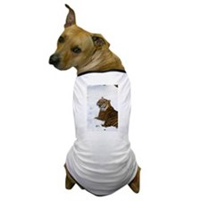 Tiger Laying In Snow Dog T-Shirt