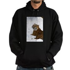 Tiger Laying In Snow Hoodie (dark)