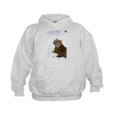 Tiger Laying In Snow Kids Hoodie
