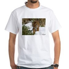 Tiger Walking in Snow White T-Shirt