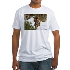 Tiger Walking in Snow Fitted T-Shirt