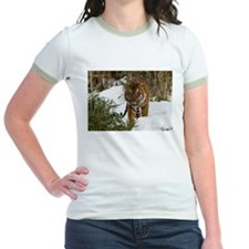 Tiger Walking in Snow Jr. Ringer T-Shirt