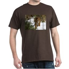 Tiger Walking in Snow Dark T-Shirt