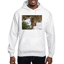 Tiger Walking in Snow Hooded Sweatshirt