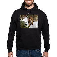 Tiger Walking in Snow Hoodie (dark)