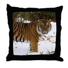 Tiger Standing in Snow Throw Pillow