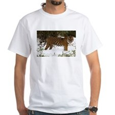 Tiger Standing in Snow White T-Shirt