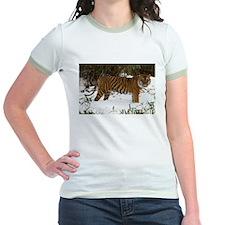 Tiger Standing in Snow Jr. Ringer T-Shirt