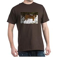 Tiger Standing in Snow Dark T-Shirt