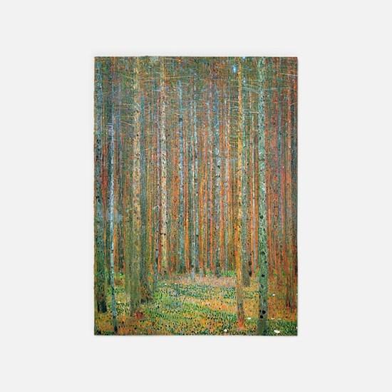 Gustav Klimt Pine Forest 5'x7'Area Rug