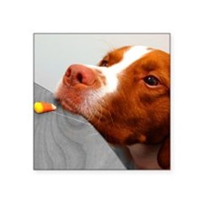"Candy corn dog Square Sticker 3"" x 3"""