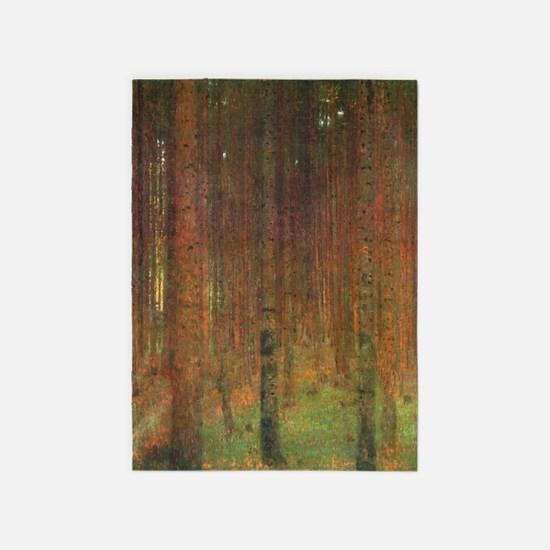 Gustav Klimt Tannenwald II 5'x7'Area Rug