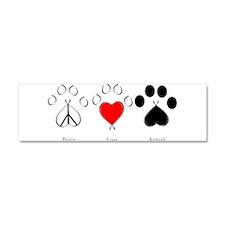 Peace Love Animals Car Magnet 10 x 3