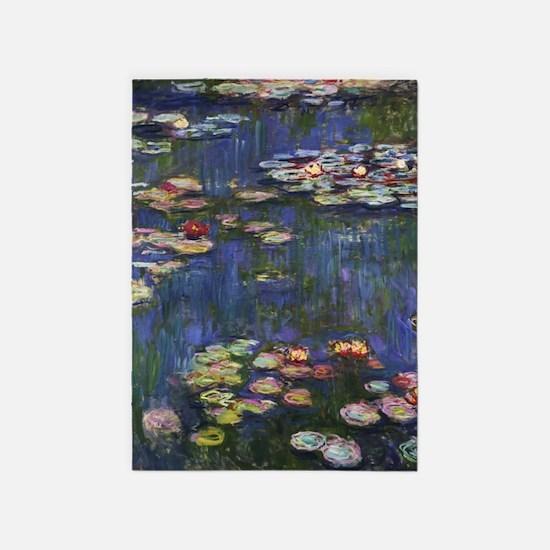 Claude Monet Water Lilies 5'x7'Area Rug