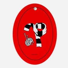 Holiday Ornament - Red oval with scarf
