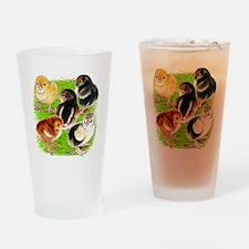 Five Chicks Drinking Glass