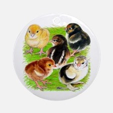 Five Chicks Ornament (Round)