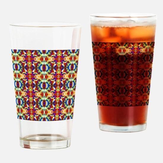 Retro Fractal Art Pattern Drinking Glass