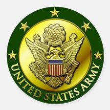 Green Army Logo Embossed Round Car Magnet