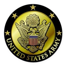 Black Army Logo Embossed Round Car Magnet
