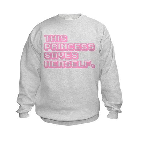 This Princess Saves Herself Kids Sweatshirt
