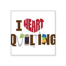 "I Heart Quilting Square Sticker 3"" x 3"""