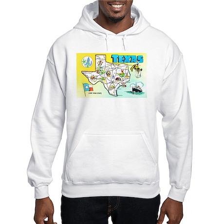 Texas Map Greetings Hooded Sweatshirt