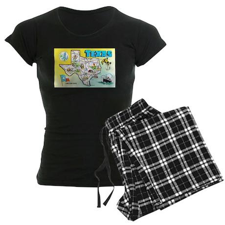 Texas Map Greetings Women's Dark Pajamas