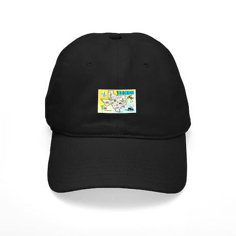 Texas Map Greetings Black Cap