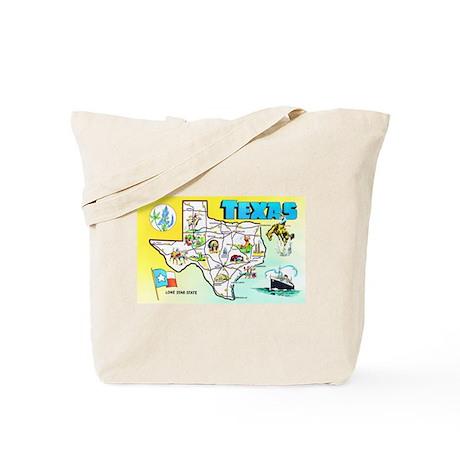 Texas Map Greetings Tote Bag