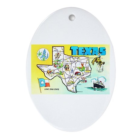 Texas Map Greetings Ornament (Oval)